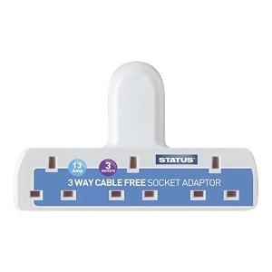 Status Cable Free Triple Socket Adaptor 13 amp (3 outlets)
